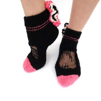 Pink Ruffle socks Lace ankle cuffs Boot socks Lolita Pastel Goth Rave Retro disco Wool Knit Warm socks Soft Grunge