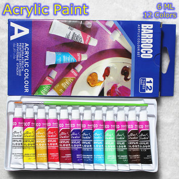 6 ML 12 Colors Professional Acrylic Paints Set Hand Painted Wall Painting Textile Paint Brightly Colored Art Supplies Brush