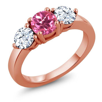 2.50 Ct Round Pink Mystic Topaz 18K Rose Gold Plated Silver Ring