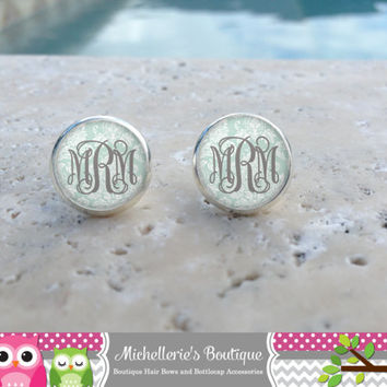 Shabby Chic Soft Tiffany Blue Damask Monogram Earrings, Monogram Jewelry, Monogram Accessories, Monogram Studs, Monogram Leverbacks, Gifts