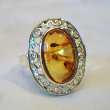 Sterling Silver Amber Ring Oval Filigree .925 Cabochon Boho Chic Jewelry Size 7.75