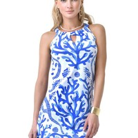 Barbara Gerwit Engineered Knit Sleeveless Dress in Blue Coral