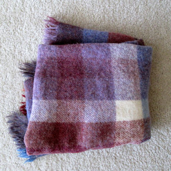 Berry Plaid Wool Throw / Handwoven / Avoca Handweavers / Wiklow Ireland / Vintage / Purple, Maroon, Cream, Lavender, Blue, Red / Picnic