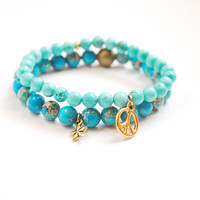 Peace Bracelet in Mint and Gold