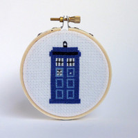 Mini Dr. Who Tardis Cross Stitch - Dr Who Cross Stitch, Apartment  Decor, Living Room Decor - Pop Culture - Hoop Art - Gift Ideas - Fandom