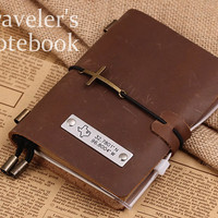MIDORI Style Traveler's Notebook - Handmade Traveler Passport Size Leather Notebook- Custom GPS Coordiantes - State Map