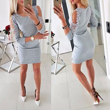 Sexy Dress Women Long Sleeve Off Shoulder Bodycon Dress Cold Shoulder Beading