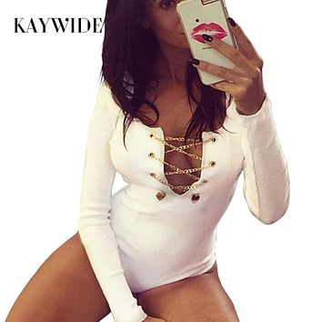 DICLOUD S-XL Sexy Deep V Neck Lace Up Rompers Womens Jumpsuit 2017 Bodycon Long Sleeve Playsuit Metal Bodysuit Macacao Feminino