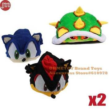 OHMETOY 2pcs Super Mario Bowser Koopa Plush Hat Sonic Cosplay Cap The Hedgehog Fleece Adult Teenager Anime Costume Birthday Gift