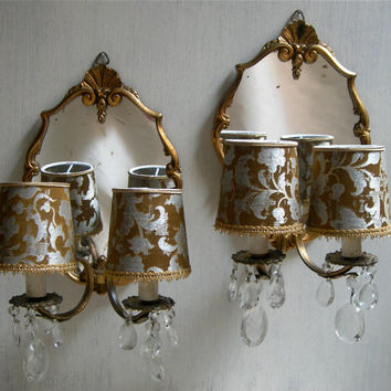 Pair of Antique Venetian Gilt Bronze and Crystal Mirror Wall Sconces with Rubelli Fabric Clip On Mini Lamp Shade - Handmade in Italy