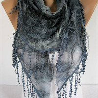 Elegant  Dark Bluer Scarf - Cowl with Lace Edge -gift Ideas For Her Women's Scarves-christmas gift- for her -Fashion accessories
