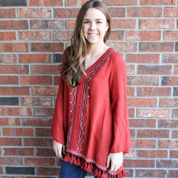 Solid Tunic with Embroidery and Fringe
