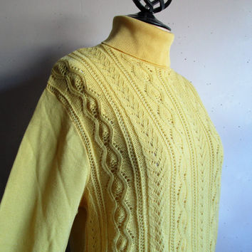 1970s Vintage Knit Shirt Mens Buttercup Yellow 70s Long Sleeve Cable Turtleneck Top by Aristocrat Medium