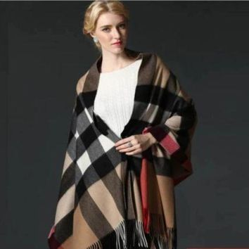 DCCKG6WU BURBERRY SCARF LARGE PONCHO NEW WITH TAG CASHMERE AUTHENTIC