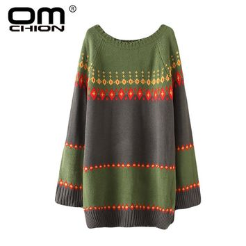 O Neck Patchwork Jacquard Long Sweater Women Casual Loose Oversized Colorful Warm Pullover Female LP14
