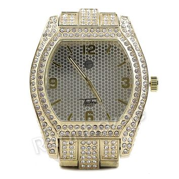 Men Iced Out Simulate Diamond Gold Silver Plated Hip Hop Big Face Oval Watch 26G