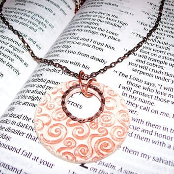 Aroma Therapy Necklace Clay Pendant Personal Diffuser Swirl Design Copper Necklace Essential Oil Perfume Diffuser Pendant, Gift Idea for Her