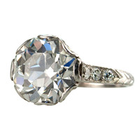 3.95ct Old European Cut Diamond Ring