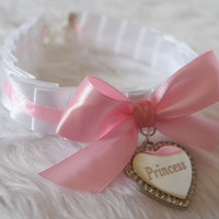 Princess Engraved Heart BDSM Collar Silver Crystal Diamante Charm White Pink Ribbon Cosplay Kitty Age Play Baby Girl Sub Fetish Slave Cute