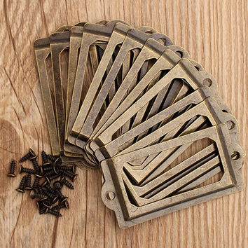12Pcs/set Antique Brass Metal Label Pull Frame Handle File Name Card Holder For Furniture Cabinet Drawer Box Case Bin