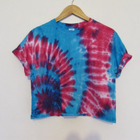 Blue and Pink Swirl Tie Dye Crop Top Vest