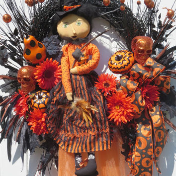 Halloween Witch, Skeletons, Halloween Door Wreaths, Halloween Pumpkins, Halloween Front Door Wreath, Door Wreath Halloween, Fall Door Wreath