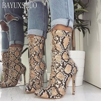 BAYUXSHUO Brand Design Sexy Snake Skin Ankle Boots Women Strappy Stiletto High Heels Gladiator Chelsea Booties Shoes Plus Size