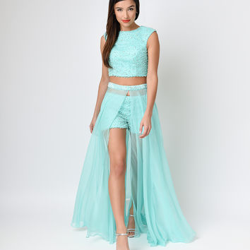 Mint Beaded Crop & Chiffon Breakaway Three Piece Dress  2015 Homecoming Dresses