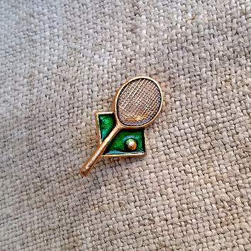 1970s Vintage Sport Pin, Highschool Sports Pin, coach, team member, tennis racket, tennis, ball, Accessories, Patches Pins, Pinback Buttons