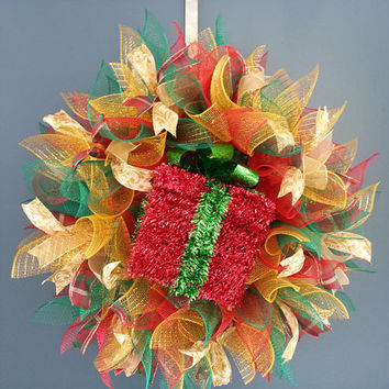 Christmas Red Green and Gold Deco Mesh Wreath with Red Tinsel Gift Box