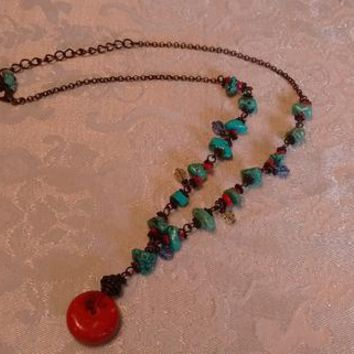 Turquoise/Red Coral Necklace: