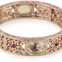 1928 Jewelry Victorian Inspired Floral Manor House Rose Gold-Tone Bracelet