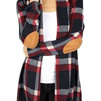 Plaid Print Long Sleeve Elbow Patch Draped Open Front Cardigan Sweater