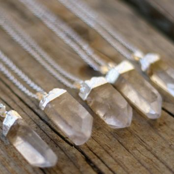 Silver Plated Quartz Crystal Necklace