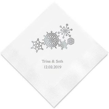 Winter Finery Snowflake Printed Paper Napkins (Sets of 80-100)