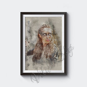 Commander Lexa, Heda Poster Art, The 100 Watercolor Art poster print, Commander Lexa poster print