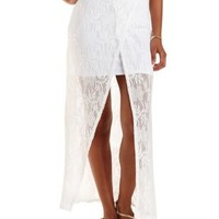 Ivory Crochet Wrap Maxi Skirt by Charlotte Russe