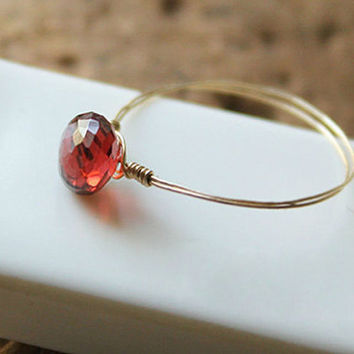 garnet ring,handmade ring,mother daughter ring,goldclad wire,delicate ring,crystal,natrual stone jewelry,garnet jewelry