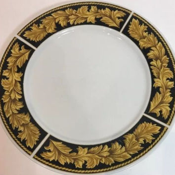 Roma Black Oven Safe Stoneware White Dinner Plate Black Rim W/  Mustard Leaves