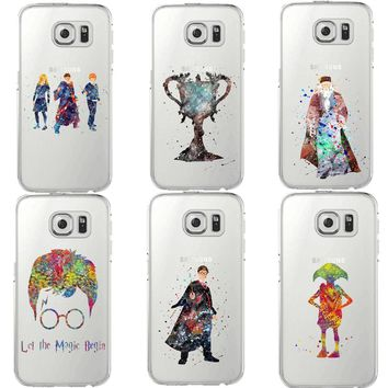 Harry Potter Magic birds Watercolor Art Soft Clear Soft TPU Phone Cases Cover For Samsung Galaxy S5 S6 Edge S7 edge S8 S9 Plus