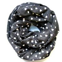 Womens Heart Scarf Valentine Scarf Tube Scarf Circle Scarf Eternity Scarf Grey Scarf Teen Scarf Cute Gift Idea Ready To Ship