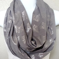 Shimmer Tribal Chevron Pattern on Heather Grey Knit Fall Infinity Scarf Womens Trending Holiday Fall Infinity Scarves Girls Winter Scarf