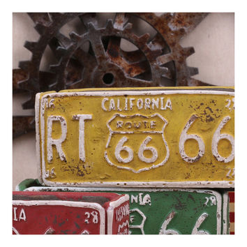 Vintage Route 66 Ashtray Car Plate Ashtray Succulent Pot    yellow
