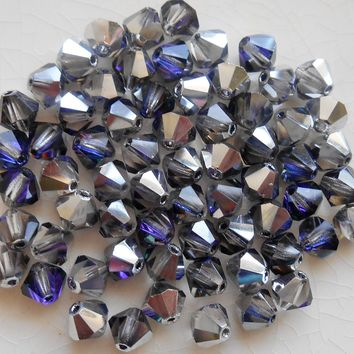 Lot of 24 6mm Crystal Heliotrope AB Czech Preciosa Crystal bicone beads, faceted silver, blue violet bicones C7801