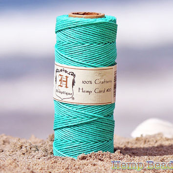 Teal Hemp Cord, 1mm, 20lb, 205 Feet, Macrame Cord, Teal Hemp Twine, Colored Hemp Twine, Teal String, Hemp Jewelry Supplies  -T13