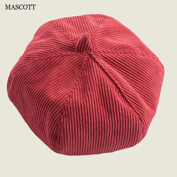 MASCOTT pure color corduroy berry cap female  newsboy cap retro pumpkin hat accessories