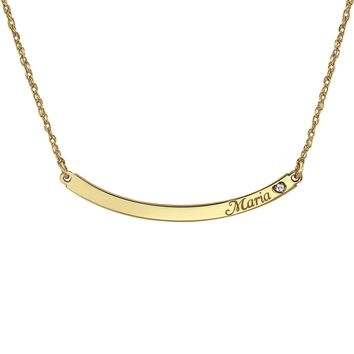 Tiny Curved Bar Name Necklace (birthstone or diamond)