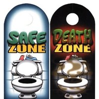 Death/Safe Zone Bathroom Funny Door Knob Hanger Prank Gag