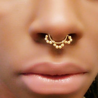 Fake septum ring - fake nose ring - faux piercing - silver fake septum - fake piercing - fake nose hoop - faux septum piercing - silver gold