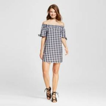Women's Gingham Tie Sleeve Off the Shoulder Dress - Almost Famous (Juniors') Black/White : Target
